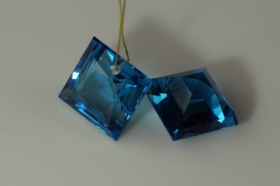 swiss blue topaz lab drilled 17x17mm one piece only