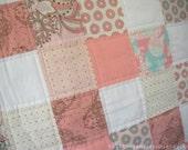 Modern Pink Patchwork Baby Quilt