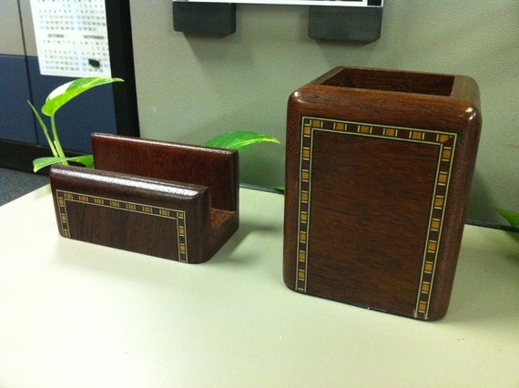 Card Holder & Pen Holder - African Padouk Wood with Inlay accents