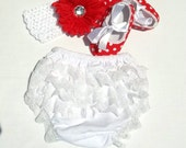 Hot pink polka dot or red polka dot shoes and white lace ruffle bloomer set