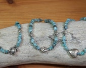 Anklet, tropical charm, blue Peruvian opal heishe beads