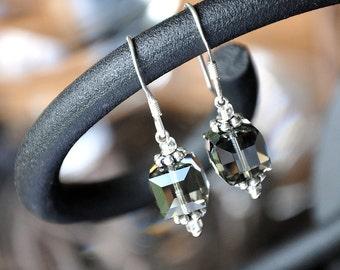 Black Diamond AB Swarovski Crystal Cube Earrings