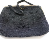 50's Vintage Black Beaded Clutch Purse.. HandMade In France by Wolberg