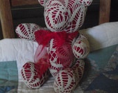 Little Christmas Teddy Bear, Vintage pattern, Old Materials