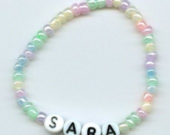 Pastel Glass Beads Personalized Beaded Name Bracelet