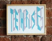 Teethbrushes- FRAMED - Acrylic on panel - Original - LIVnyc - modern - design - text - contemporary - loft - geometric FREE SHIPPING