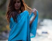Blue silk scarf. hand painted shawl, stole wrap, sash, wedding scarf, bridesmaid shawl, something blue bridal gift, bridal shawl baby blue