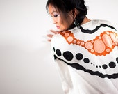 Short White Silk Dress - Caftan - Kaftan - Burnt Orange or Rust and Black on White - Plus Size Tunic - Loose Top - Loose Dress - Oversized