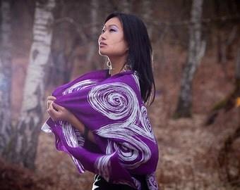 Silk scarf hand painted in purple and white, silk shawl, silk wrap, silk stole, bridal shawl, bridesmaid scarf, wedding scarf, headscarf