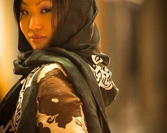 Silk scarf hand painted black and white, Long Silk Scarfs, Silk Shawl, Geometric Wrap or Stole. Handmade batik handdyed hand dyed head scarf