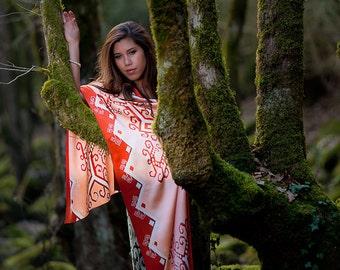 Hand painted silk scarf. Batik long shawl wrap in neutral earth tones. Tribal art head scarf, head wrap, headscarf, headwrap, hair coverings