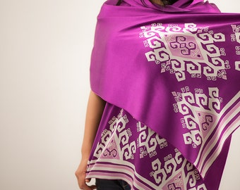 Purple silk shawl, silk scarf. Silky wrap hand painted and handdyed tribal batik, headscarf head scarf, feminine gifts for ladies hand dyed