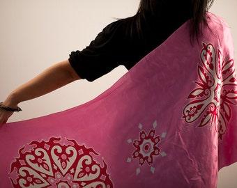 silk scarf hand painted batik, stole, wrap, bridal shawl, bridesmaid scarf, pink and red, headscarf, head wrap, headwrap, hair kerchief