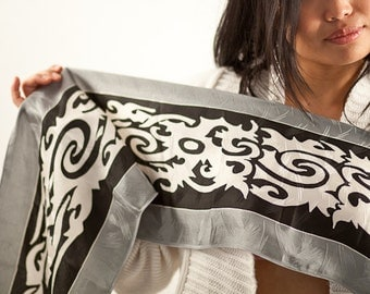 Silk spring scarf In silver, white and black, Tribal neck scarf hand painted and hand dyed Batik, Summer Scarves for Women, Thin silk scarf