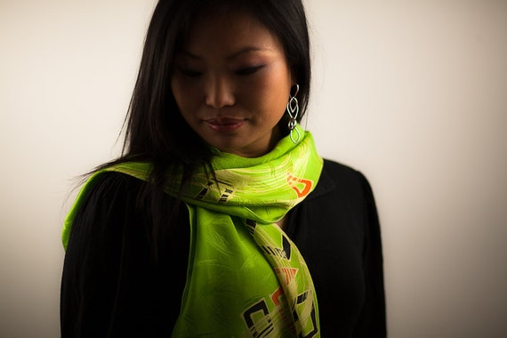 Silk scarf hand painted in green, black and orange, Painted long silk scarf or muffler with geometric design. Lime bright flourescent green