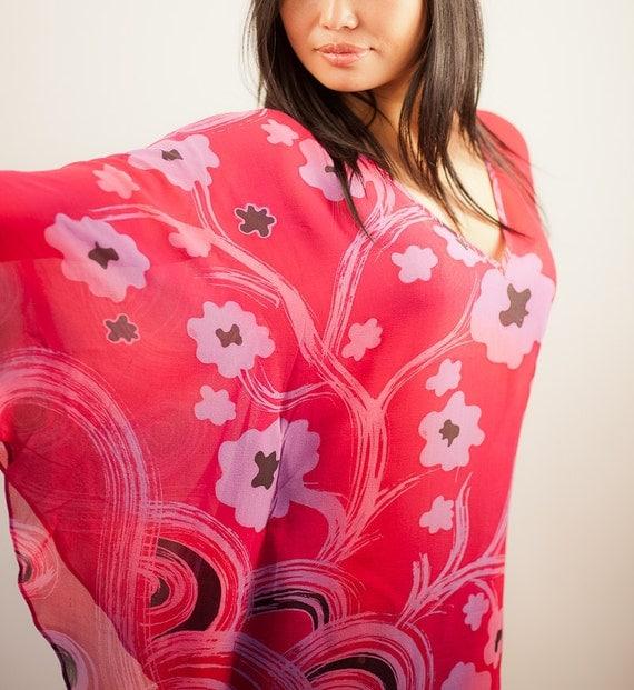 Hand Painted Pink Chiffon Silk Tunic Dress with Butterfly Sleeves - Silk Top - Tunic - Silk Blouse - Caftan Dress - Kaftan - Plus Size