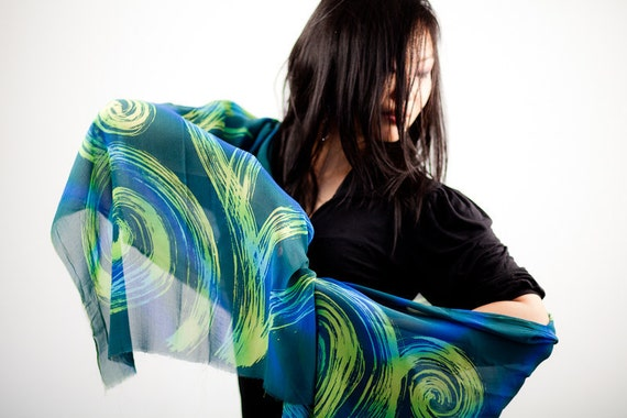 Silk chiffon scarf shawl hand painted in shades of green and blue, abstract modern batik wrap, silk anniversary gift for women, headscarf