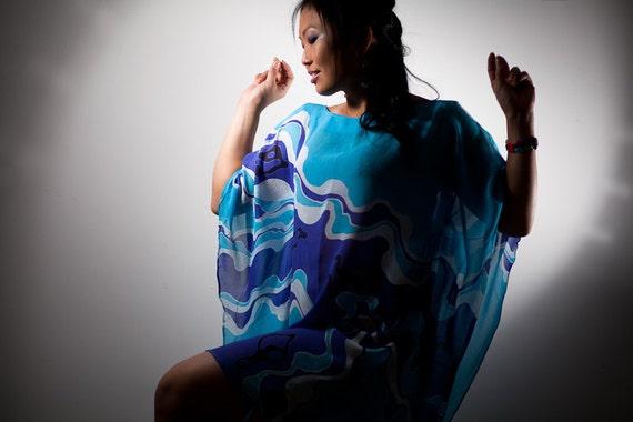 Kaftan top. Blue chiffon dress hand painted batik. Chiffon top, blouse, summer dress, tunic dress. Woman tunic plus size clothing, Womens XL