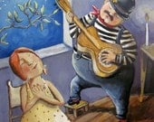 """Art print on watercolor paper Romantic Bill goes all out"""" 7""""x9"""""""