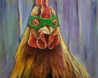 """Sparkle Rooster"""" extra fancy embellished Art print on watercolor paper 7""""x10"""""""