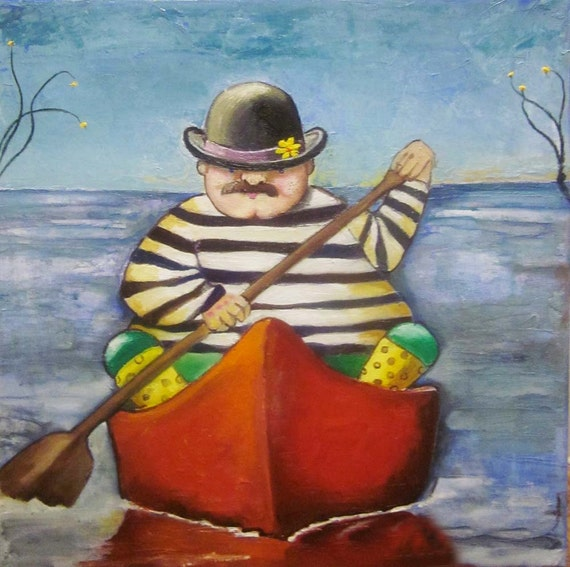 "Art print on watercolor paper Romantic Bill in a Boat 8""x8"""