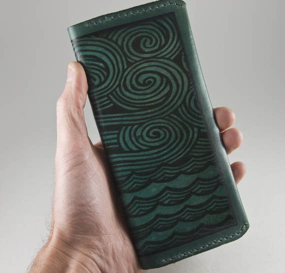 Leather Women's Wallet Teal Green Nautical Design