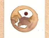 Blend Number 65 - Coffee, Wine & Tea - Original OOAK Watercolor Painting, Framed
