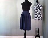 Vintage Navy Blue Polka Dot Skirt with Pockets - Large - FREE U.S. SHIPPING
