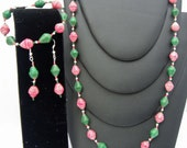 Red, Green and a little white paper beaded necklace with earrings and bracelet to match