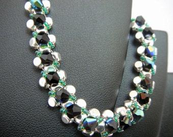 Dark Blue AB Swarovski crystal, Silver square beads and seed bead bracelet