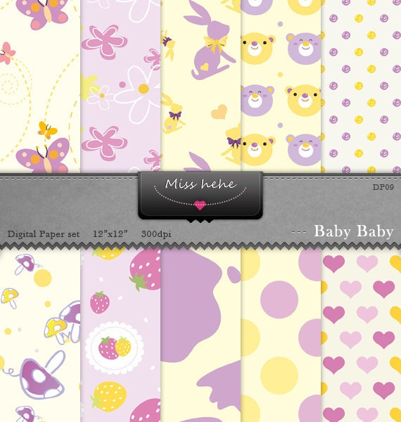 Baby Baby Paper Pack - Digital papers - 12 x12 - 300 DPI - DP09 - Buy 2 Get 1 Free