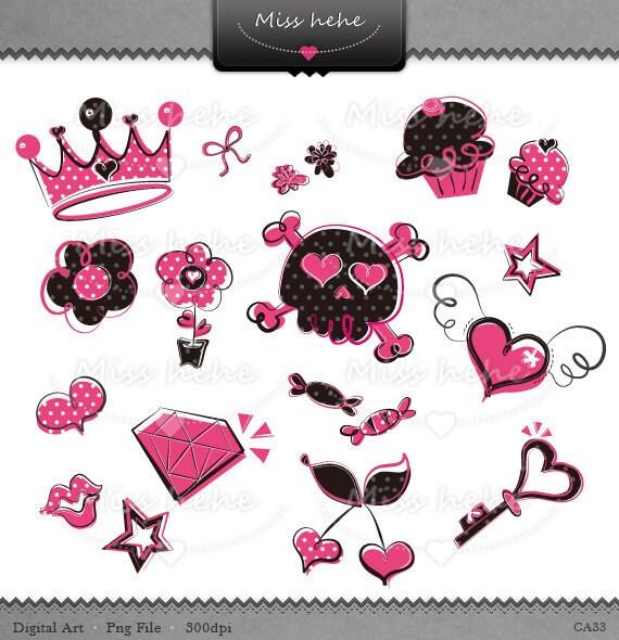Wild, Girlish Doodles set - Digital Clip Art & Digital Paper - 300 dpi - CA33 - Buy 2 Get 1 Free