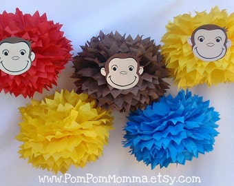 Curious George Inspired Party Poms