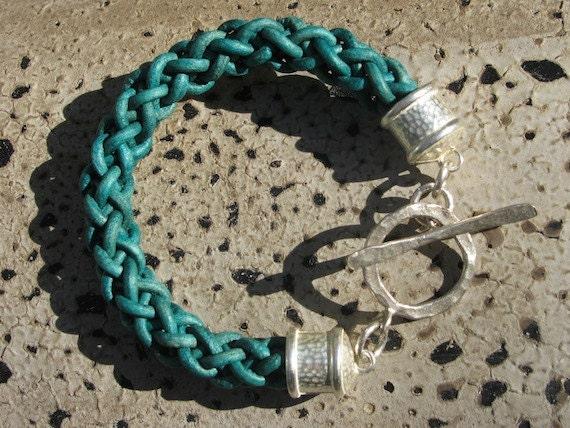 Turquoise Blue Braided Leather Bracelet - Handmade