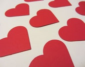 Red Paper Hearts - Confetti, Wedding Party Decorations, Valentine's Decor