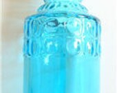 Beach Decor - Turquoise Glass bottle with Spiral Turritella Shell Stopper