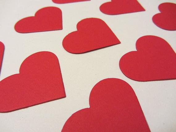 Red Paper Hearts - Confetti, Wedding Party Decorations, Valentine's Decor