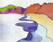 "Print of Two Original Drawings, Point Reyes, CA, 11""x14"""