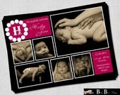 6 photo Birth Announcement- Baby Girl Pink & Black- Printable