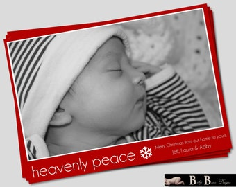Christmas Card- Heavenly Peace, Red & White- Printable