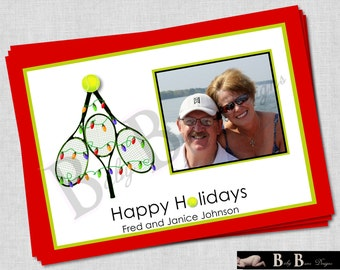 Tennis Photo Christmas Card- Printable