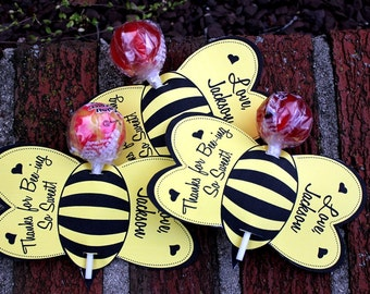 Personalized Bumble Bee Lollipop Party Favors- Printable