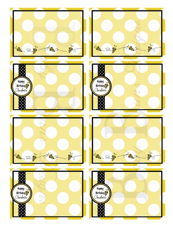 ... to Bee Birthday Labels/Name Tags- Printable Party Supplies on Etsy