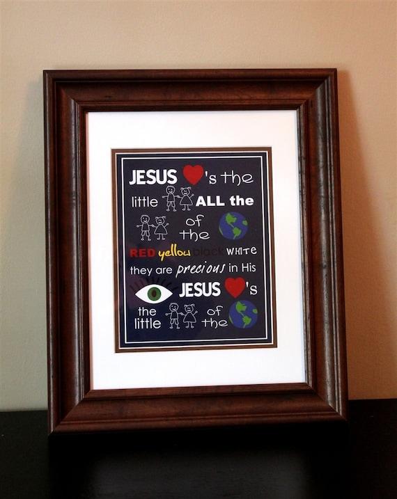 Children's Nursery Art- Jesus Loves the Little Children- Print