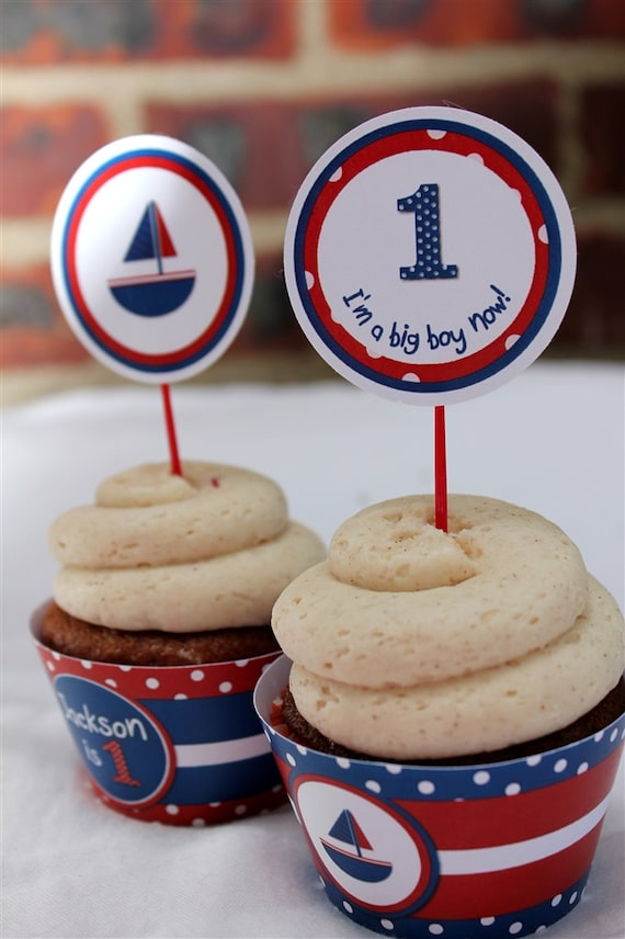 Sailboat Birthday Round Tags/Stickers/Cupcake Toppers- Printable or Shipped