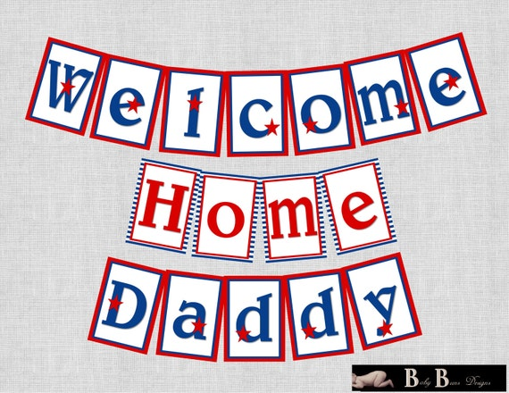 Military patriotic welcome home homecoming banner printable for Patriotic welcome home decorations