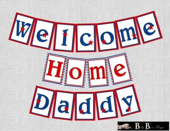 Military patriotic welcome home homecoming banner printable for Welcome home troops decorations
