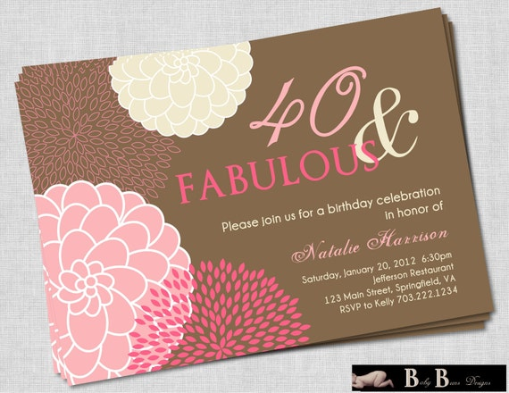 40 and Fabulous 40th Birthday Invitation- Pink & Brown