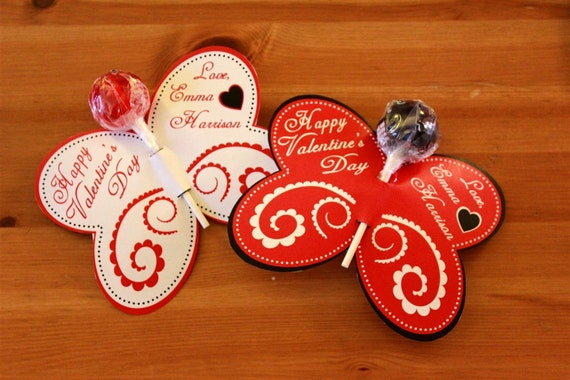 Butterfly Lollipop Personalized Valentine's Day Cards (Red, Black & White)- Printable or Shipped