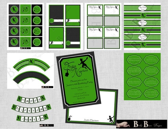 Neverland Birthday Party (Green & Black)- Printable Party Supplies